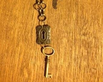 Bronze Key Lock Necklace