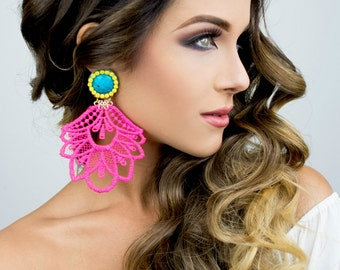 Long Hippie Earrings, Gypsy Long Earrings, Pink Chandelier Earrings, Lace Earrings, Dangle Earrings, Big Earrings, Statement Earrings, Boho
