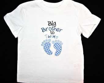 Big Brother to Twins appliqued baby feet shirt