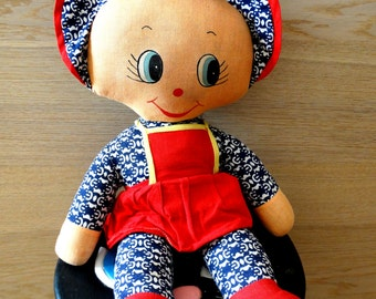 Rag doll stuffed toy fabric dolls, French vintage, baby present