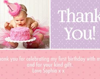 Baby Girl Thank you Card x 20