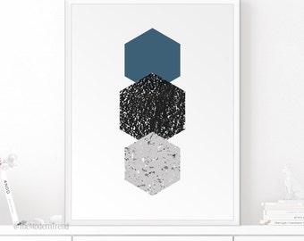 Navy Print, Hexagon Print, Shapes Print, Geometric Print, Gray Print, Black and White Print, Modern Wall Art, Modern Print, Blue Decor