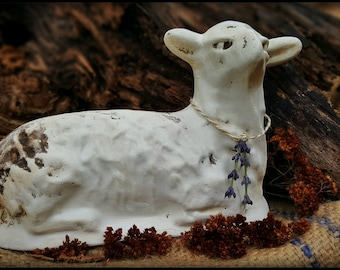 Griswold Resting Sheep, Chalkware Sheep, Plaster Sheep