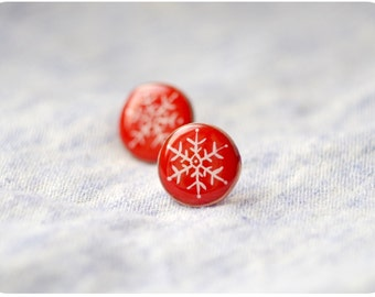 Christmas red earrings with snowflakes, christmas jewelry, winter earrings with polymer clay and copper wire
