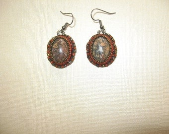 Earrings.  Bead Embroidery.  Leopardskin Jasper.