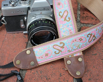 Cotton camera strap, paisley, pastel pink blue gold bronze jacquard ribbon, 1.5 inch (38mm), leather, DSLR, SLR,  If You Don't Cry