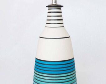 olive oil dispenser, olive oil cruet, striped patterns