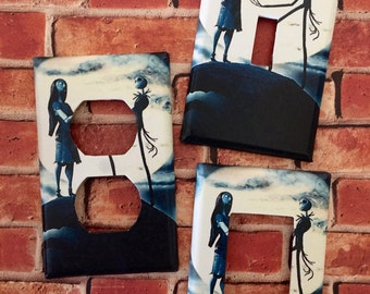 Jack and Sally - Nightmare Before Christmas light switch cover room decor Disney
