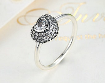 Authentic 925 Sterling Silver 2016 Summer Collection In My Heart Pave Ring with Clear Dazzling CZ Compatible with European Pandora Jewelry
