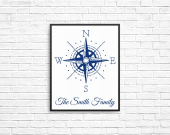 PERSONALIZED COMPASS PRINT: Printable Nautical Decor, Digital Print, Personalized Wedding Gift, Art Print, Digital Download, Ready to Print