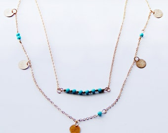 Gold Statement necklace, double layered, gold and turquoise beads, gold plated necklace, boho