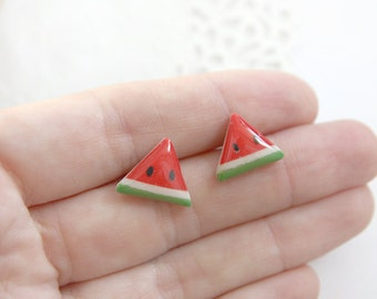 Watermelon earrings Triangle stripe jewelry gift for daughter gift Summer earrings Geometric jewelry fruit earrings vegan jewelry organic