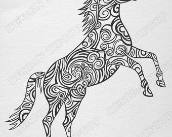 Horse SVG, horse zentangle svg, cricut, svg, dxf, horse vinyl svg, Silhouette Studio files, horse silhouette, doodle horse SVG, horse tattoo