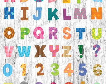 42 Colorful Alphabet, Letters, Colorful Numbers, Rainbow Alphabet, Digital Fonts, PNG Alphabet, Alphabet ClipArt, Digital Colorful Alphabet