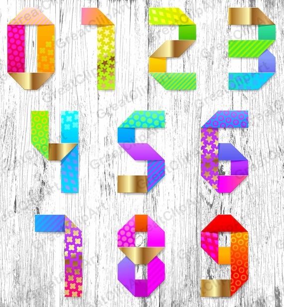 10 Colorful Numbers Symbols Rainbow Numbers Digital Fonts