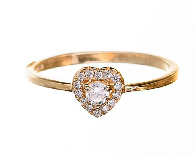 heart ring gold heart ring 14k gold plated ring gift for