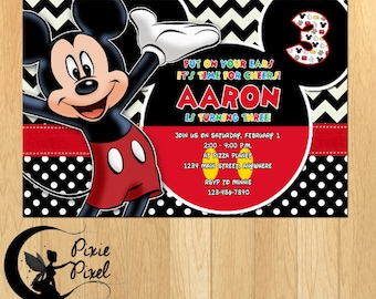 Mickey Mouse Party Printable Birthday Invitation - Personalized Customized Printable Digital