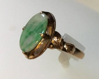 Victorian Jade 14 Kt. Gold Ring