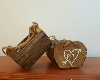 Flower Girl Basket, Rustic Wedding, Rustic Flower Girl Basket, Rustic Basket, Wooden Flower Girl Basket, Wooden Basket, Rustic Centerpiece