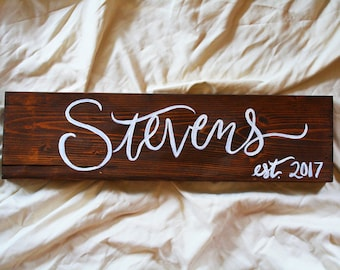 Last Name Sign, Custom Name Sign, Hand-Painted Wood Sign, Rustic Name Sign, Last Name, Decor, Wedding Name Sign