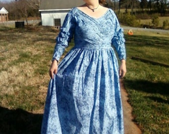Blue Historic Gown with satin piping, plus size, 16/18