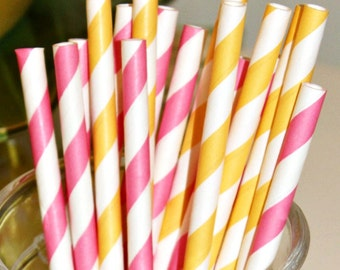 Paper Straws, 25 Pink Lemonade Paper Drinking Straws, Pink Straws, Yellow Paper Straws, Lemonade Stand, Baby  Shower, Lemonade Party Straws