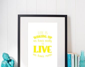 Wake up early print - yellow