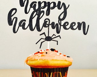 Happy Halloween Cake Topper | Spider Cake Topper | Fall Party Decorations | Halloween Glitter Cake Decor