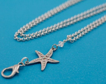 Starfish Interchangeable Silver Lanyard Badge Holder Necklace