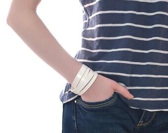 Double Wrap Leather Bracelet / Leather Cuff Bracelet, Leather Wrap Bracelet / Mens Leather Bracelet, Leather Wrist Cuff, Leather Wristband