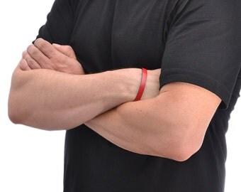 Mens Leather Bracelet / Leather Cuff Bracelet, Leather Wrap Bracelet / Red Leather Bracelet, Leather Wrist Cuff, Leather Wristband