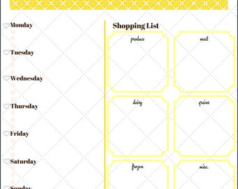 Weekly Menu/meal planner for the whole family plus shopping list