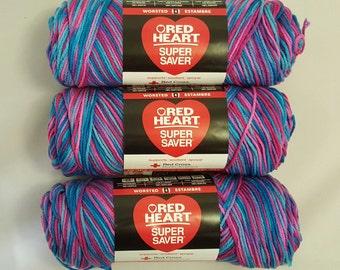 Red Heart Super Saver Yarn BONBON Lot of 3 Skeins 5 oz Medium 4