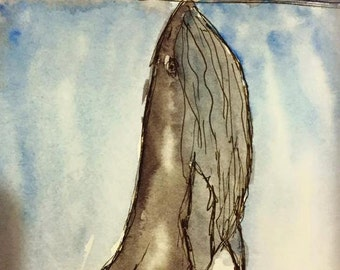 Whale Meets Ship Watercolor