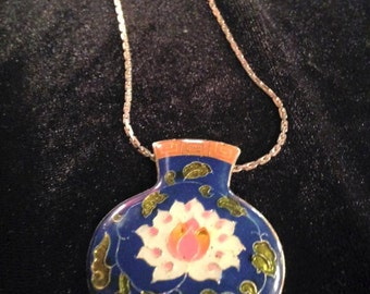 Vintage Enamel Handpainted Necklace
