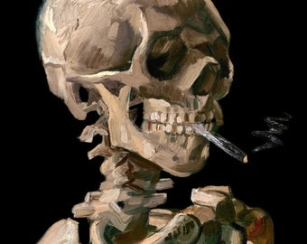 Van Gogh 1886, Skeleton with a Cigarette, HD Canvas Print or Art Print, Artwork Wall Poster Impressionism Print on Canvas Van Gogh Skull