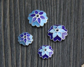 4pcs- 10MM Sterling Silver flower bead caps, cloisonne blue flower bead cap, Blue Enamel Bead Caps