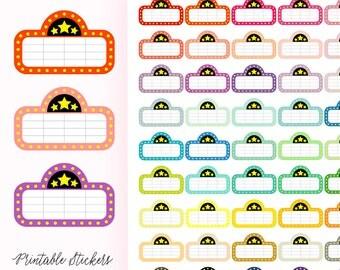 Movie Stickers, Erin Condren Planner Stickers, Printable Movie Planner Stickers, Movie Night, Movie Marquee, ECLP, Colorful, Date Night