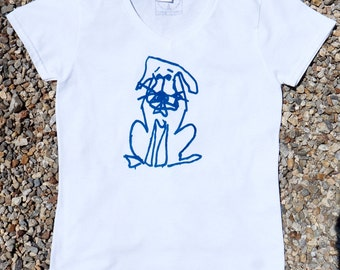 Blue Puppy, Wearable Art, V Neck, Hand Printed, Silk Screen, Block Print, Graphic T