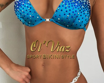 Blue Spandex Competition Bikini Suit with Crystals/Competition Suit/Posing Suit/Rhinestone Fitness