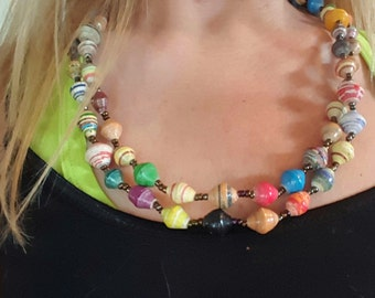 Long Multi-Colored Recycled Paper Beaded Necklace