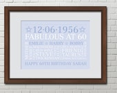 Personalised Word Art Word Cloud PRINT Poster Unique gift Special 60th Birthday BD602
