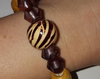 Wood Zebra Stretch Bracelet