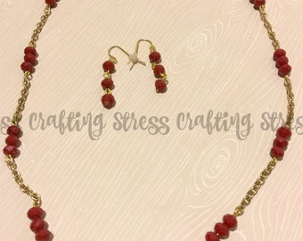 Dark Red Beaded Necklace with Matching Ear Hooks