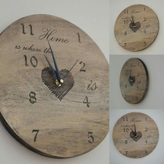Personalised Clock , wedding gift , new home gift , Engraved wood ...