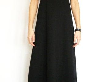Black Cotton Jersey Minimalist A-Shaped Maxi Dress/Designer A-Shaped Turtleneck Long Dress