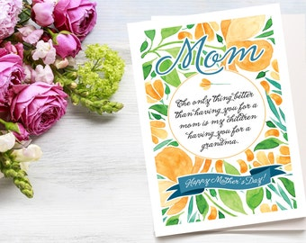 Happy Mother's Day card, grandma, mom, grandchildren, floral