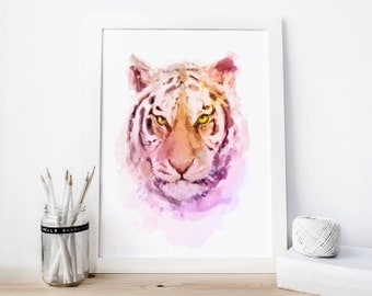 Tiger wall art, tiger print, tiger Watercolor tiger decor tiger Printable tiger Painting tiger nursery, childrens tiger gifts, tiger art