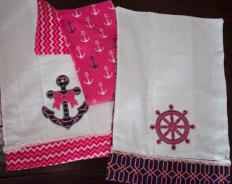 Fully Lined Nautical Baby Burp Cloth Set 1