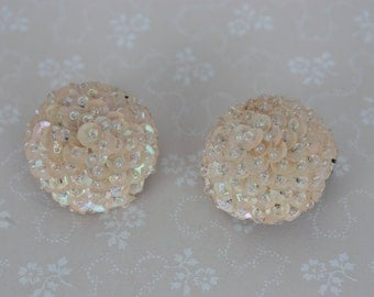 60s Clip On Earrings - Cream Sequin Earrings - Sequin and Glass Bead Earrings - Vintage Disco Earrings